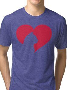 Cat Heart  Tri-blend T-Shirt