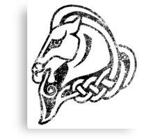 Skyrim Distressed Whiterun Logo - B&W Metal Print