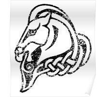 Skyrim Distressed Whiterun Logo - B&W Poster