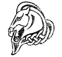 Skyrim Distressed Whiterun Logo - B&W Photographic Print