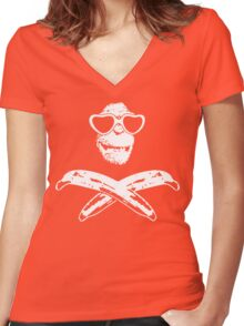 Monkey Roger shades Women's Fitted V-Neck T-Shirt