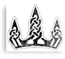 Skyrim Distressed Winterhold Logo - B&W Metal Print