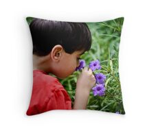 Taking Time To Smell the Flowers Throw Pillow