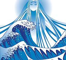 Gaia & the Great Wave by Moncs