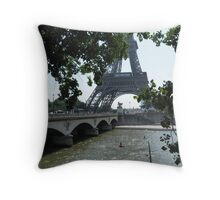 View of Eiffel Tower through Branches Throw Pillow