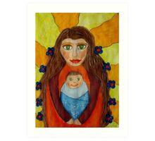 Mother and Child Naive Mixed Media Art Art Print