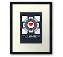Weighted Companion Cube Loves You Framed Print