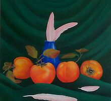 Fruit and Feather Tryptic by JANET SUMMERS