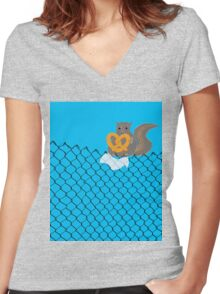 New York Squirrel Women's Fitted V-Neck T-Shirt