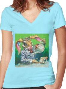 March Hare at the Tea Party Women's Fitted V-Neck T-Shirt