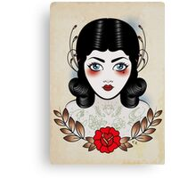 Flapper girl with tats Canvas Print
