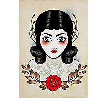 Flapper girl with tats Photographic Print
