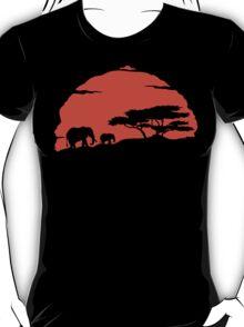 Elephant  Silhouettes African Sunrise T Shirt T-Shirt