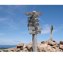 Sargent Mountain Peak Trail Sign, Acadia National Park Photographic Print