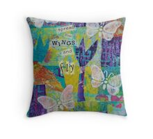 Spread Your Wings and Fly Inspirational Butterflies Mixed Media Throw Pillow