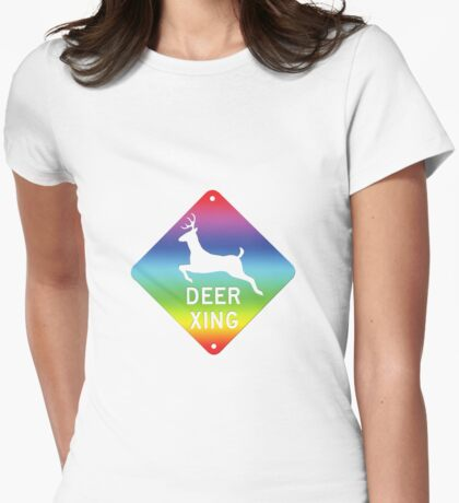 Deer Xing Rainbow Womens Fitted T-Shirt