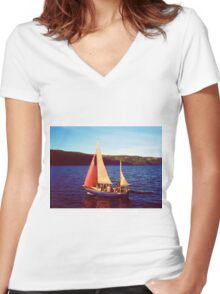 Red Sails In Broad Daylight ~ Loch Ness Women's Fitted V-Neck T-Shirt