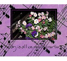 Inspired by pansies with quote and sheet music background Photographic Print