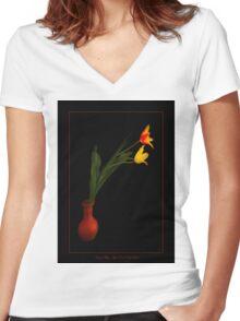 Vase of Tulips Women's Fitted V-Neck T-Shirt