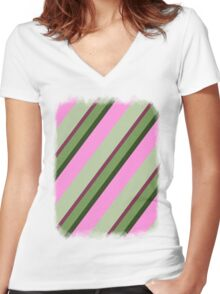 Pink Roses in Anzures 1 Stripes 3D Women's Fitted V-Neck T-Shirt