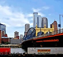 Pittsburgh PA - Train By Smithfield St Bridge by Susan Savad