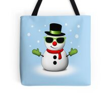 Cool Snowman with Shades and Adorable Smirk Tote Bag