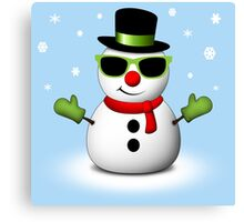 Cool Snowman with Shades and Adorable Smirk Canvas Print