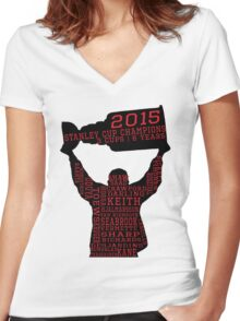 Chicago Blackhawks - 2015 Stanley Cup Champions Women's Fitted V-Neck T-Shirt