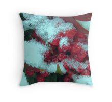 red  berries in snow Throw Pillow