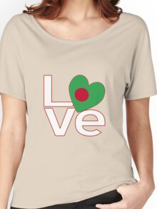 Bangladeshi LOVE White Red Women's Relaxed Fit T-Shirt