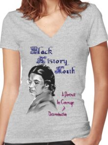 Black History Month 2010 Women's Fitted V-Neck T-Shirt