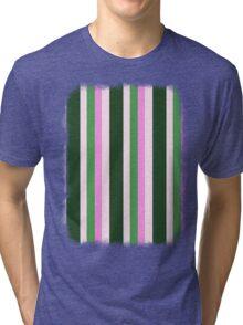Pink Roses in Anzures 1 Stripes 4V Tri-blend T-Shirt