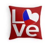 White Red Chech LOVE Throw Pillow