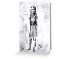 A girl drawn in charcoal Greeting Card