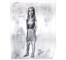 A girl drawn in charcoal Poster