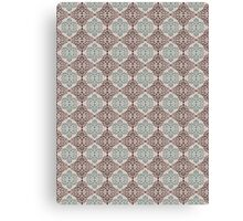 Blue and Brown Ornamental Damask Style Pattern Canvas Print
