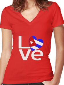 White Red Cuba LOVE Women's Fitted V-Neck T-Shirt