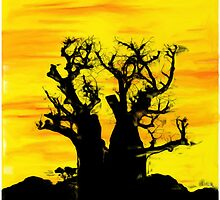 Boab Tree with Fire Sky by Auslandesign