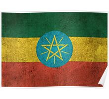 Old and Worn Distressed Vintage Flag of Ethiopia Poster