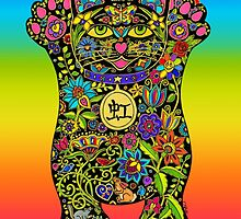 Maneki Neko Rainbow Lucky  Black Cat by ArtHarmony