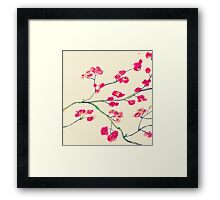 Pink red cherry blossoms painting Framed Print