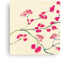 Pink red cherry blossoms painting Canvas Print