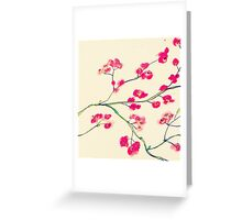 Pink red cherry blossoms painting Greeting Card