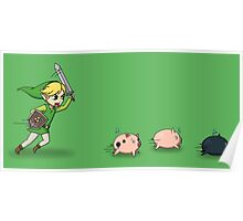 Link Chasing The Pigs Poster