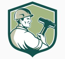 Demolition Worker Sledgehammer Shield Retro by patrimonio