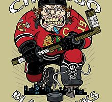 Chicago Blackhawk Skate or Die by GrimaceGraphics