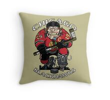 Chicago Blackhawk Skate or Die Throw Pillow
