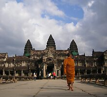 Monk at Angkor Wat Temples, Siem Reap, Cambodia by b00fa