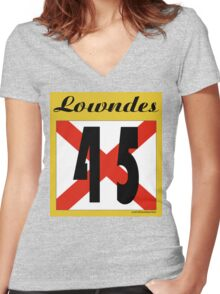 ALABAMA:  45 LOWNDES COUNTY Women's Fitted V-Neck T-Shirt