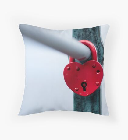 Red Heart Lock Throw Pillow